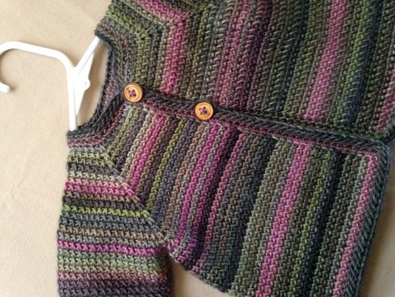 Girl Baby Sweater Green Pink Purple Varigated 0-6 Months