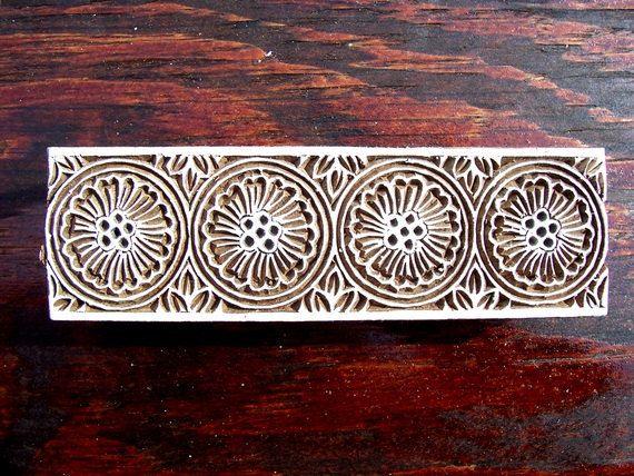 Border wood stamp hand carved indian print block b