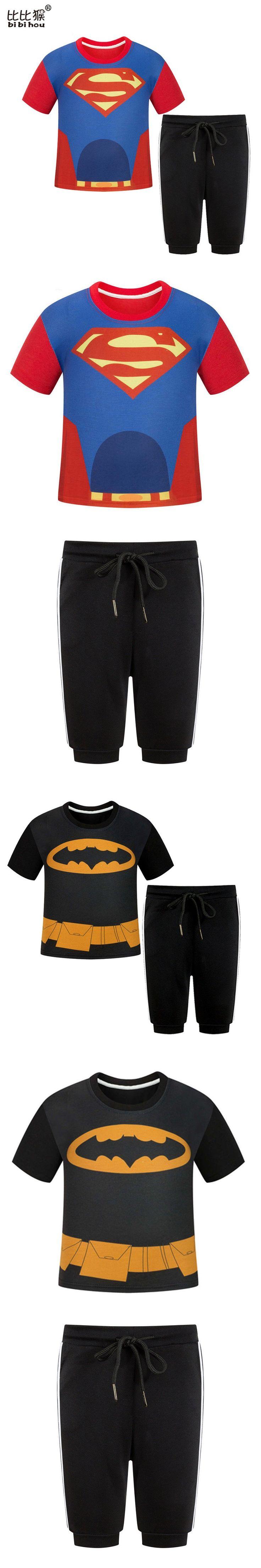Hot sale Red Boys Clothing Set Summer superman O-Neck infant batman Pants boy sports Suit Children polyester short Clothes Set $20.99