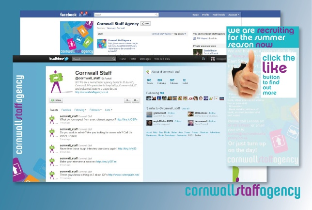 Extensive Social Media campaign for specialist recruitment consultants Cornwall Staff. Included all design and content management. Advertising agency Leeds.