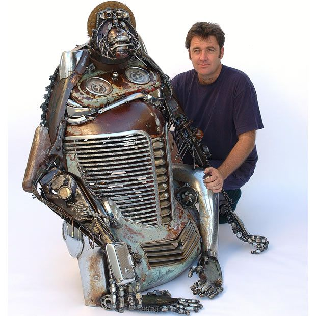 Sculptures made out of scrap car parts by Australian artist James Corbett