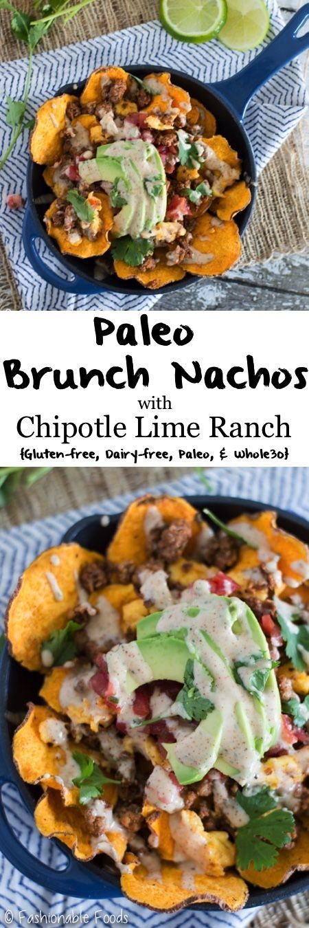 Nachos for brunch! These Paleo Brunch Nachos are chock full of homemade sweet potato chips, chorizo, and scrambled eggs. Top them off with avocado, cilantro, pico de gallo, and a delicious chipotle lime ranch! {Gluten-free, Dairy-Free, Paleo, & Whole30}