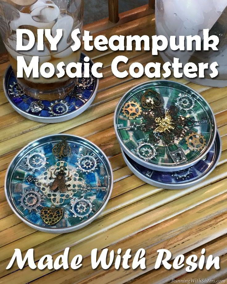 Make DIY Steampunk Mosaic Coasters using clear resin. Learn how to mix and pour resin to show off your steampunk mosaic!