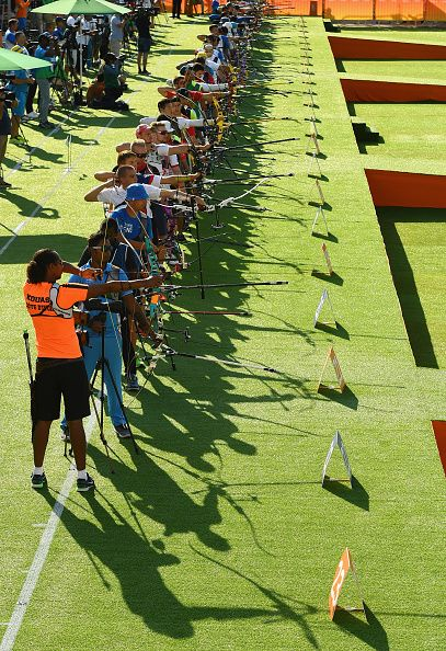 #RIO2016 Archers compete during the Men's Individual Ranking Round on Day 0 of the Rio 2016 Olympic Games at the Sambodromo Olympic Archery venue on August 5...