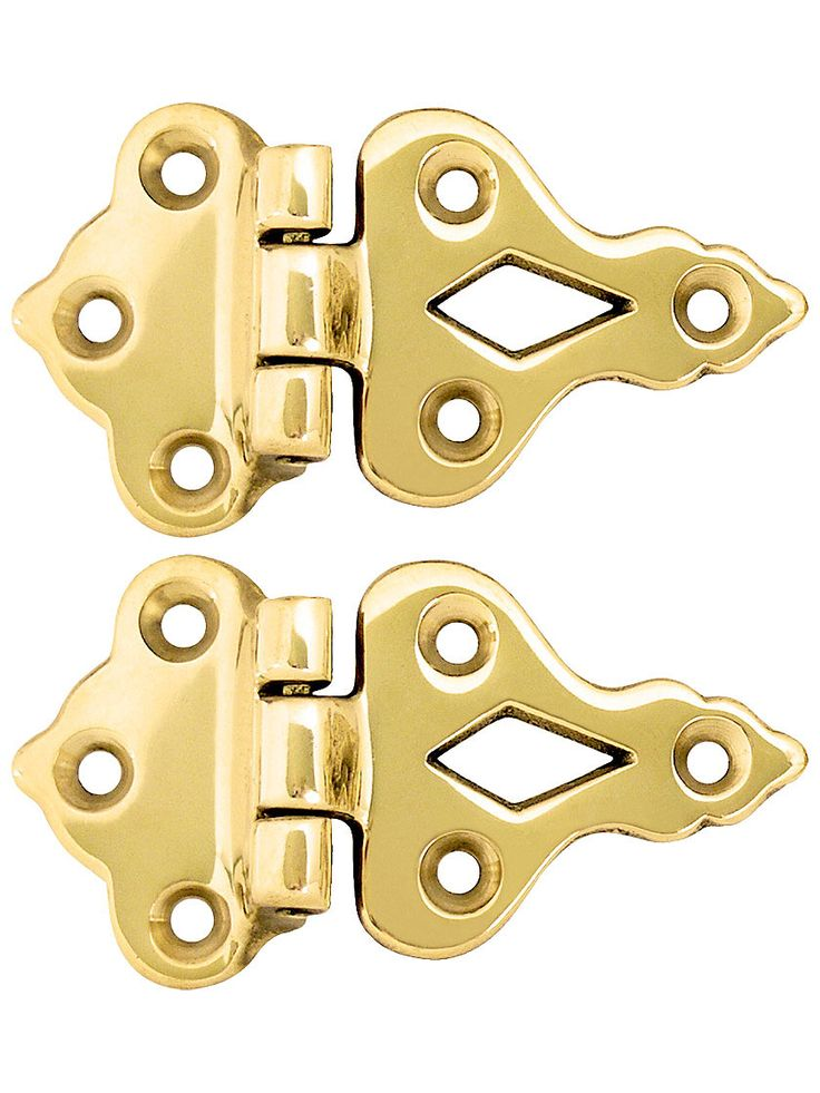 """kitchen cabinet hardware  Ice Box Hinges. Pair Of Solid Cast Brass 3/8"""" Offset Hinges"""