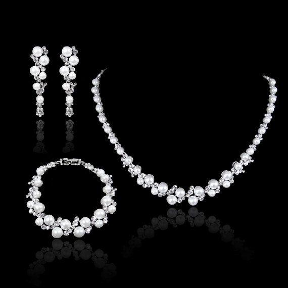 White/Ivory Pearl Swarovski Crystal Necklace Earring Bracelet Set, Pierced Dangle Earring, Bridal Bangle, Wedding Jewelry Set-157412732