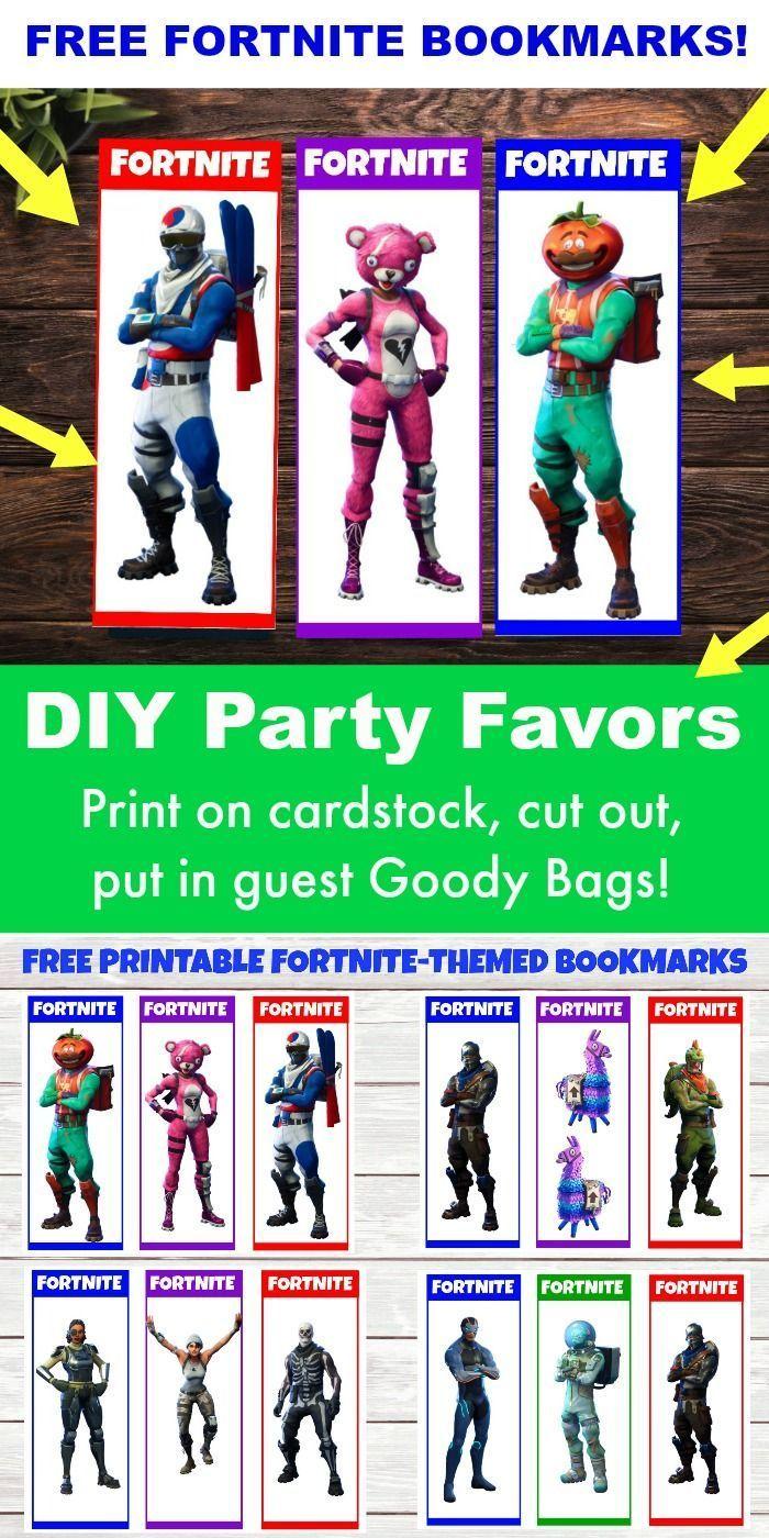 Free Printable Fortnite Party Favors 12 Fortnite Bookmarks Diy Party Favors Diy Party Favors Diy Birthday Party Favors Diy Birthday Party