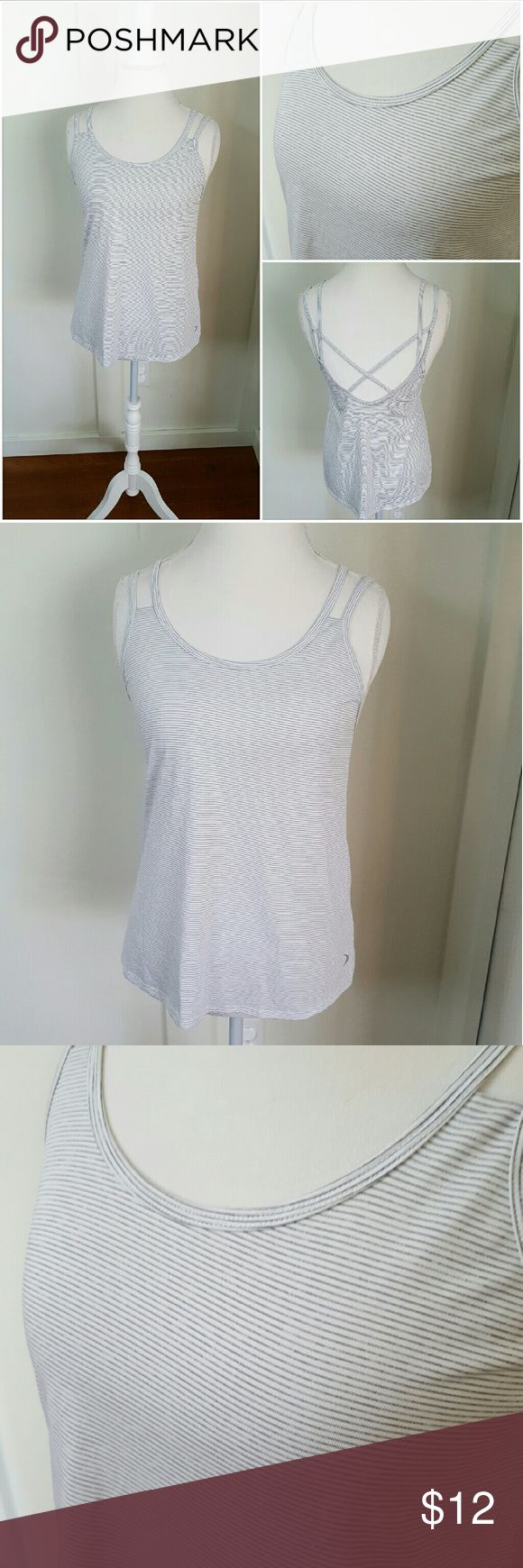 OLD NAVY MEDIUM  WHITE WITH BLACK STRIPES CAMI Old Navy Active medium white fitness cami with black stripes. Perfect for workouts or for layering. Pre-owned and in good condition. Old Navy Tops Camisoles