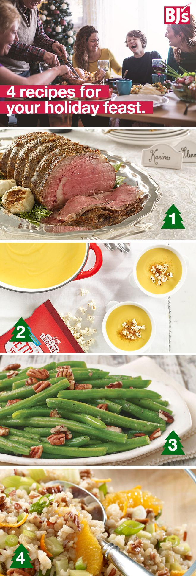 Whether you are hosting a holiday get-together or just looking for some new ideas for your family meal, these recipes are a great solution: http://stocked.bjs.com/food/spread-holiday-cheer-chef-glenn. The main course and sides are the perfect combination of simple, delicious and crowd-pleasing.