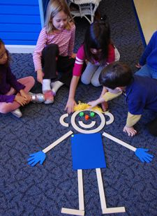 Build Mat Man: body awareness, drawing & pre-writing, counting, building, socializing & sharing.