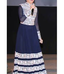Buy Nevy Blue Embroiderd Georgette Semi Stitched Gown Style Salwar Suit bollywood-salwar-kameez-online online