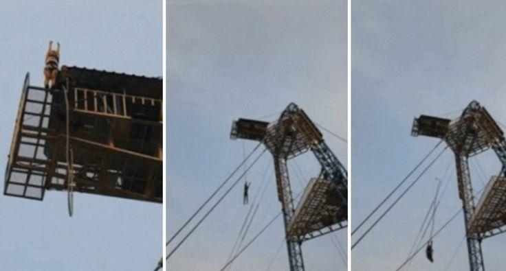 Trabalhadores Esquecem-se De Prender Elástico e Mulher Sofre Terrível Queda Com Salto De Bungee Jumping