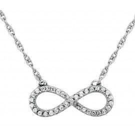 Ródiumozott Ezüst Végtelenség Szimbólum Nyaklánc Szintetikus Gyémánttal