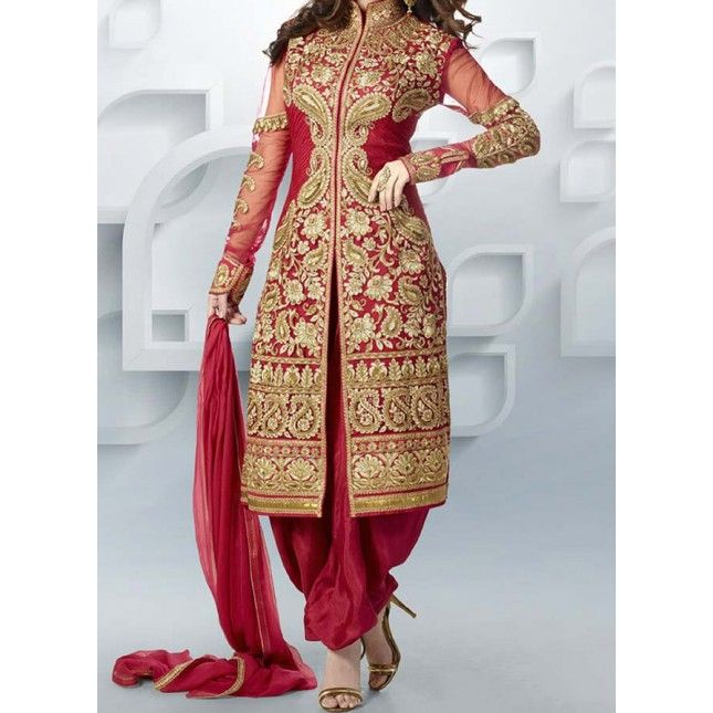 Shop Appealing Red Embroidered Suit For $33 only. Visit: http://bit.ly/29esdl6