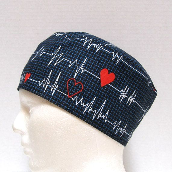 Mens Scrub Hat or Surgical Cap EKG on Black or by ScrubHatStore