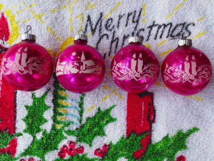 Vtg MID-CENTURy 4 SHINY BRITE PINK STENCILED XMAS ORNAMENTs Snowy Church Candles  | eBay