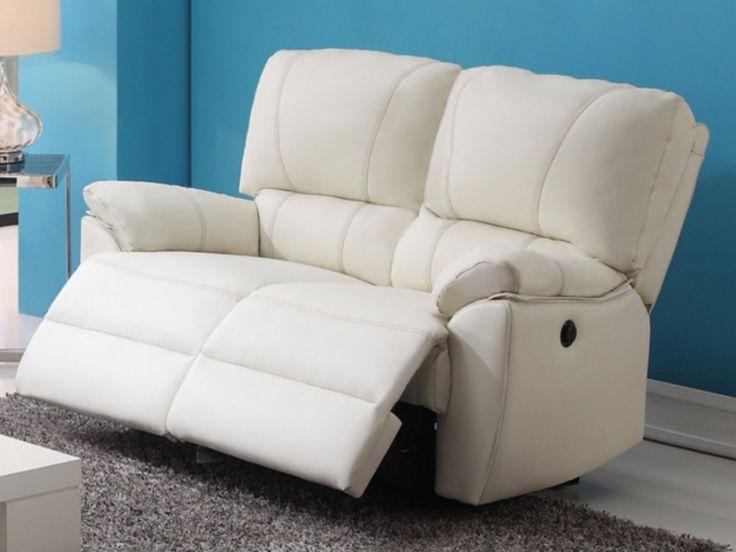 Relaxsofa 2-Sitzer Leder elektrisch Marcis - Weiß - Kauf-Unique