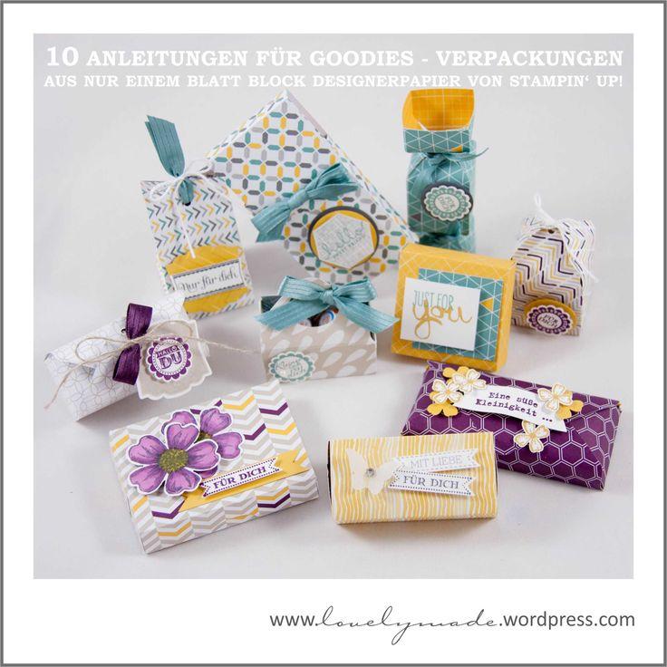 10 Anleitungen für Goodies - Verpackungen aus nur einem Blatt Block Designerpapier von Stampin' Up!