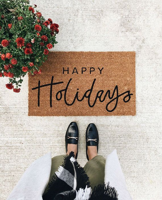 This Happy Holiday Doormat Is The Perfect Way To Have An Inviting Entry Way  To Your Home! Each Welcome Mat Is Hand Painted And Hand Lettered.