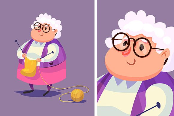 Funny old woman character. Isolated by Krol on Creative Market