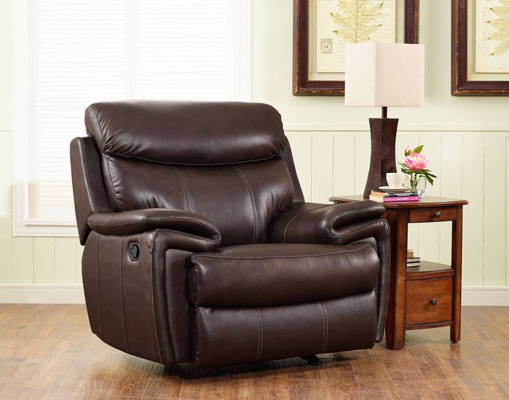 Aria Matte Brown Grain Leather Hardwood Plywood Glider Recliner