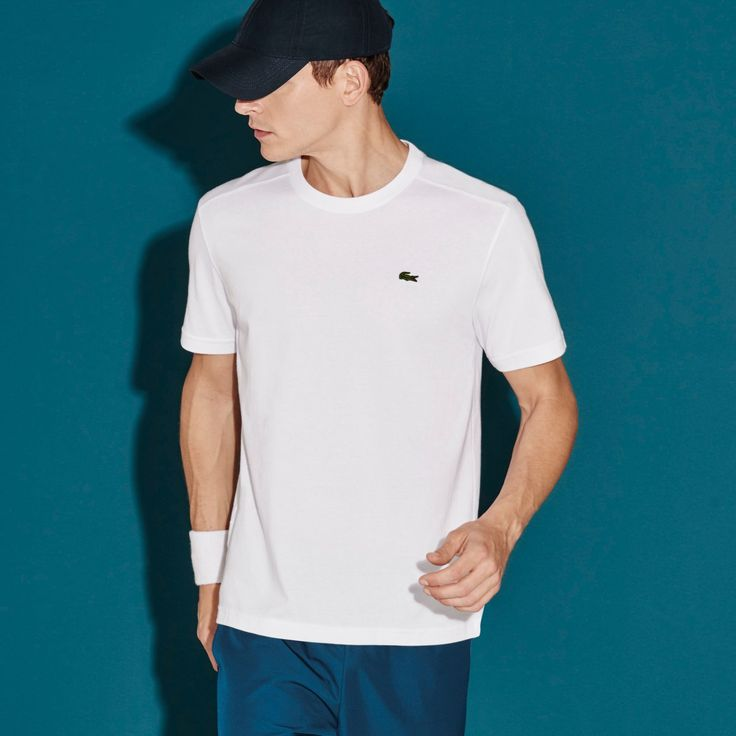 LACOSTE Men'S Sport Technical Jersey Tennis T-Shirt - White. #lacoste #cloth #all