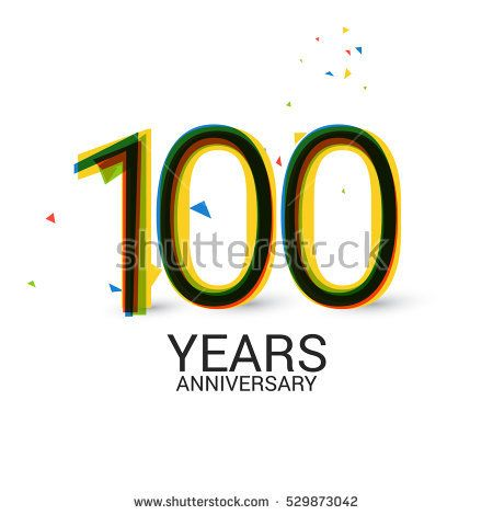 100 Years Anniversary. Layered and Colorful. Logo Celebration Isolated on White Background