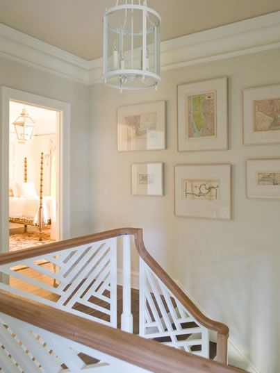 wall...Phoebe Howard - chippendale fretwork staircase, white lantern, upstairs landing