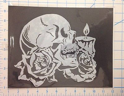 Skull Rose Candle mylar reusable stencil 10 mils for Airbrush design art & craft