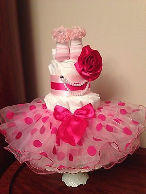 Details About Princess Tutu Flower Baby Girl 3 Tier Diaper Cake Pink Shower  / Welcome Gift