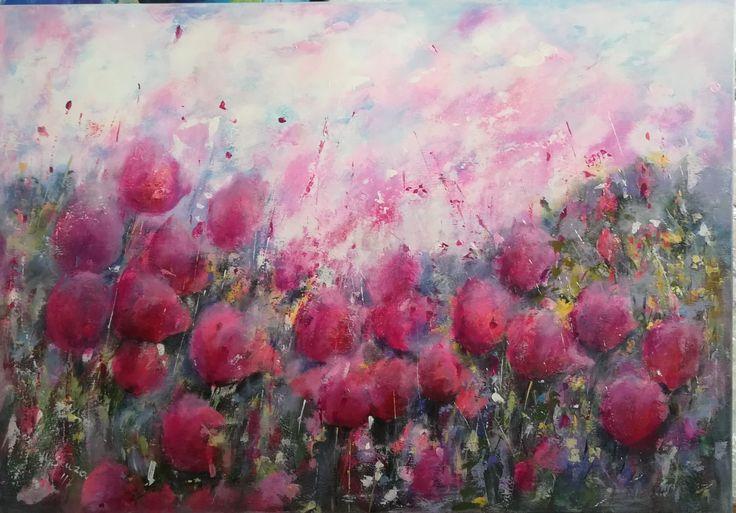#flowerspainting #acryl #acrylicpainting #flowers #kwiaty #malowaneręcznie #malowane #art #artwork, akryl na płótnie 70x100