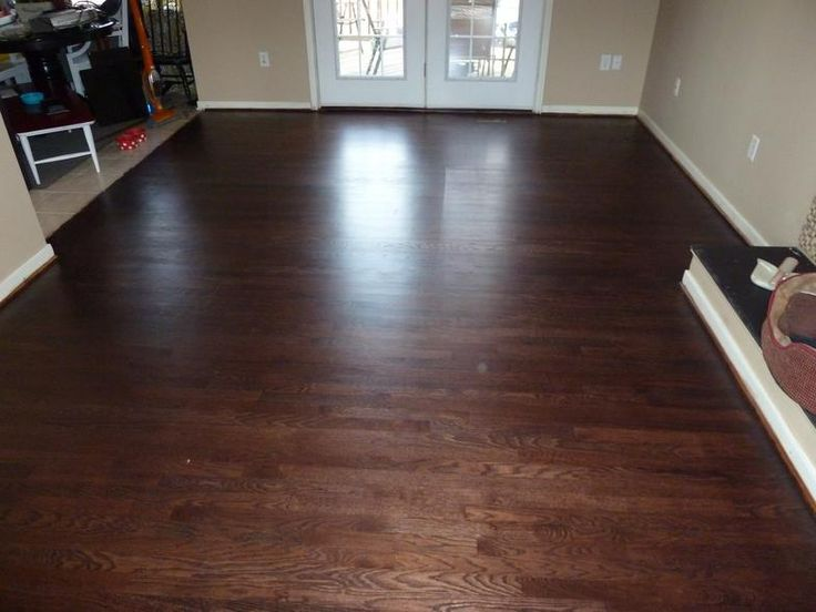 White oak floor sanded water popped and stained with red mahogany