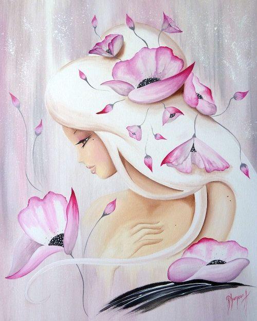 Original painting Lilou perle rose poudrée by aurelierhumeur, $730.00