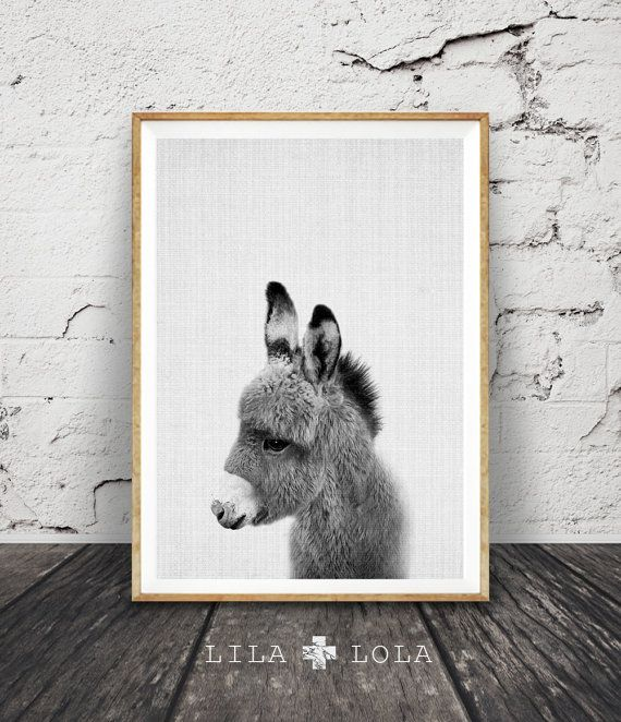 Impresión de burro, decoración cuarto de niños, arte de pared para imprimir, descarga inmediata, Animal Print blanco y negro, bebé burro, animalito, gris y blanco