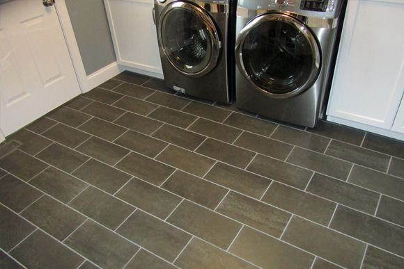 Dark Gray Rectangular Floor Tile Floors