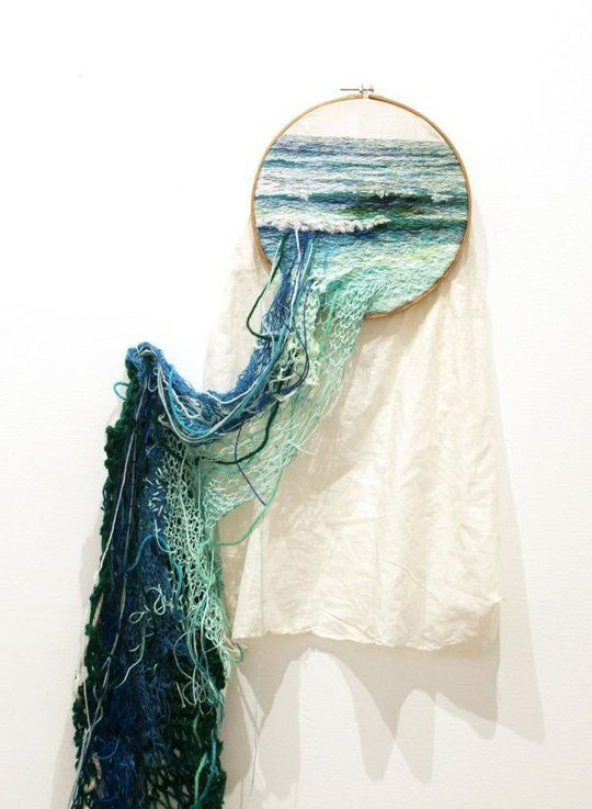 Embroidered landscapes by Ana Teresa Barboza.