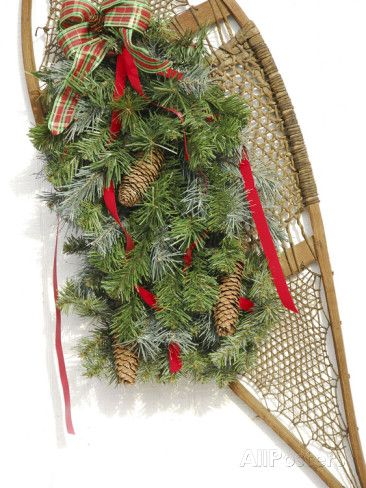 Antique Snowshoe with Christmas Decorations, Bridgton, Maine Photographic Print by Nance Trueworthy at AllPosters.com