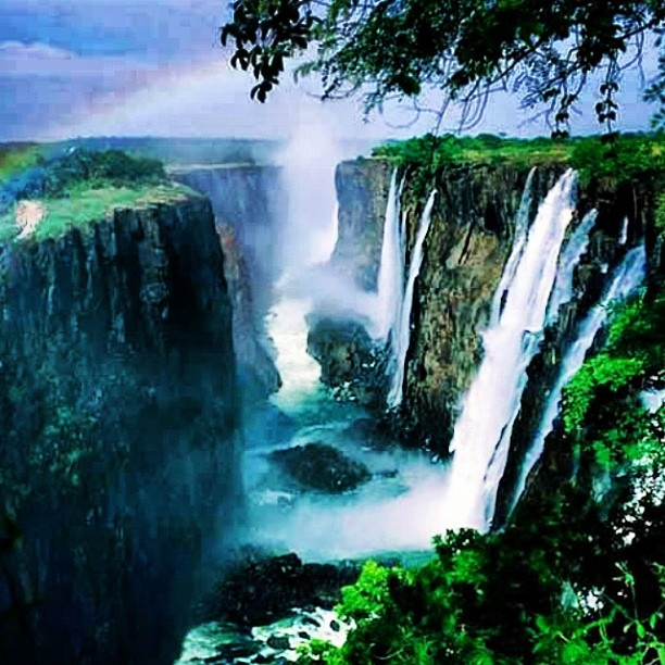 Victoria Falls--between Zimbabwe and Zambia. Largest waterfall in Africa