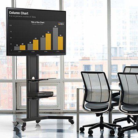 Fitueyes Universal Tv Stand Base with Tempered glass Av Shelf Locking Caster Wheels for 40 45 55 60 65 inch Flat Screen TVs TT211201MB, Black