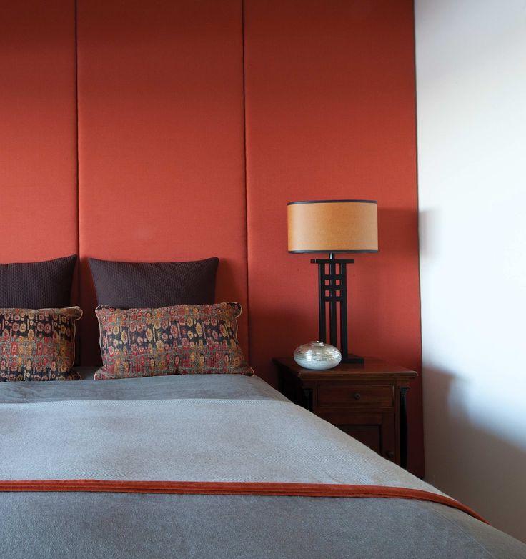 Master bedroom with Dedar fabric wall panelling. Brooke Aitken Design.