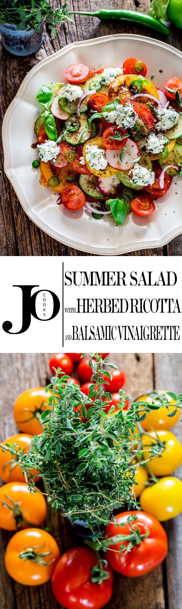 Summer Salad with Herbed Ricotta and Balsamic Vinaigrette - a simple salad with gorgeous heirloom tomatoes, cucumbers and radishes and drizzled with a simple balsamic vinaigrette and a dollop of herbed ricotta takes this salad over the top!
