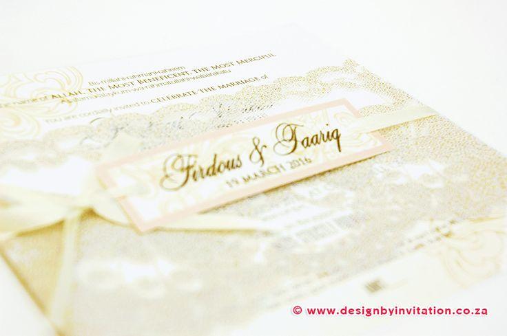 Vinatge Invitation finished with Lace and Ribbon © www.designbyinvitation.co.za