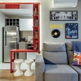 Inspiração de conceito aberto super atual! 😜  #frescurasdatati #cozinhaaberta #inspiracao #cozinhaamericana #sala #decoratual