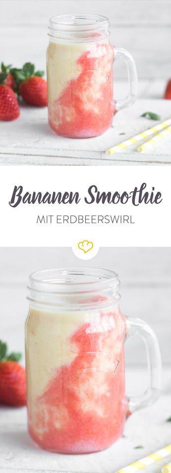 KiBa war gestern, heute gibt es EBa - ein unwiderstehlich leckerer Bananen-Smoothie mit Mango, Kokosmilch und Erdbeerswirl.