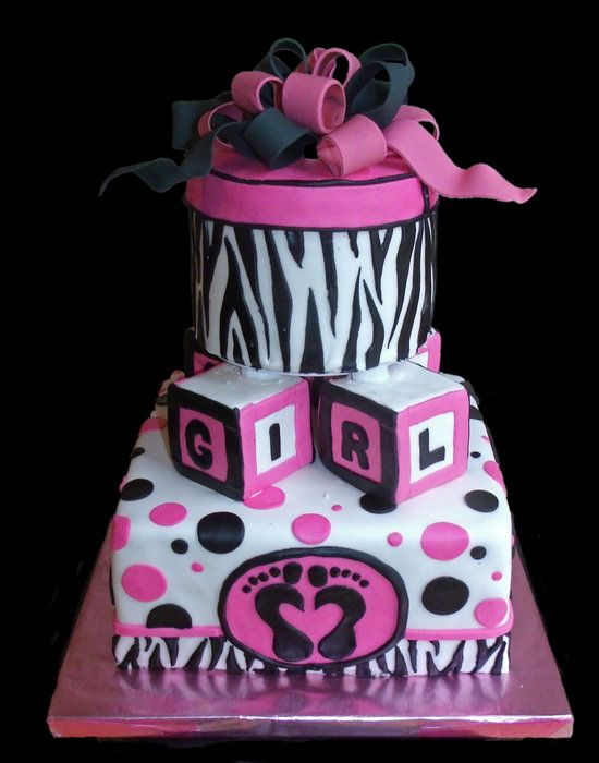 black and white zebra stripe cakes | Another cute and trendy baby shower cake with zebra stripes and hot ...