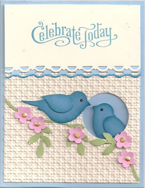 handmade card: Celebrate Today by bmbfield ... two-step bird punch ... like the sponging  giving depth to the blue birds ... one bird peeking out of negative space circle and the other on a branch looking in ... punched flowers on punched branches ... sweet card ... Stampin' Up!