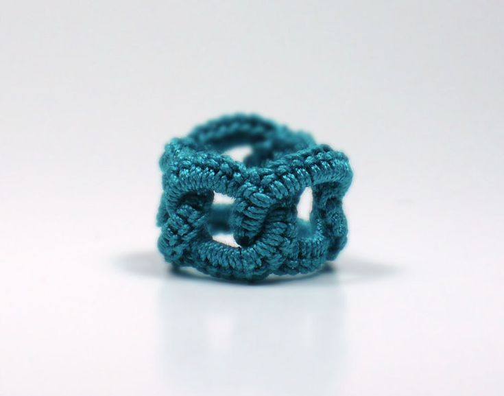Crochet Ring Faux Chainmail Interlocking Circles Teal Fiber Band. $10.00, via Etsy.