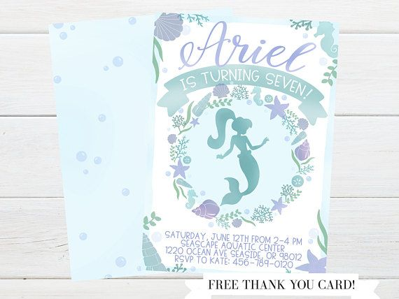 Mermaid party invitations by Little Lemon Design Co.! Mermaid birthday, mermaid party, mermaid cupcakes, mermaid party ideas, blue and purple mermaid party, girls birthday party, mermaid birthday invitation, mermaid party invite, mermaid birthday invite, mermaid party invitation, mermaid birthday party