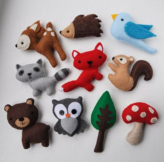 woodland felt animals - could be decorated with embroidery. That would be