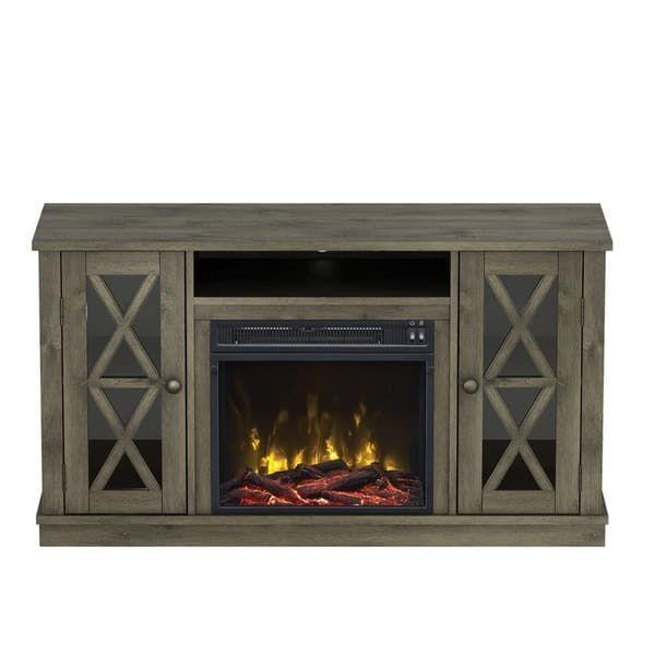 Bayport TV Stand for TVs up to 55 inches with Electric Fireplace - Spanish Gray